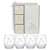 Eco-Luxury Courtset Gift Set & Four Glass Wine Tumblers - Reindeer