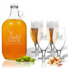 5 Piece Set: Growler  64 oz.  & Cervoise Glass  16.75 oz. (Set of 4) Personalized Hillside Buck