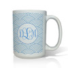 Personalized White Mug  15 oz.Asian Elements - Wild Blue LupinVine Monogram