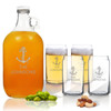 5 Piece Set: Growler  64 oz.  & Beer Can Glasses 16 oz (Set of 4) Personalized Anchor Theme