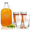 5 Piece Set: Growler  64 oz.  & Pub Glass  16 oz. (Set of 4) Personalized Mr & Mrs Bracket