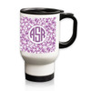 Personalized White Stainless Steel Travel Mug - 14 oz.Asian Elements - LavenderCircle Monogram