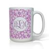 Personalized White Mug  15 oz.Asian Elements - LavenderVine Monogram