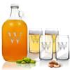 5 Piece Set: Growler  64 oz.  & Beer Can Glasses 16 oz (Set of 4) Split Letter