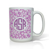 Personalized White Mug  15 oz.Asian Elements - LavenderCircle Monogram