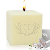 """4"""" Soy Pillar Candle - Antler with Single Initial"""