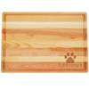 "Large Master Cutting Board 20"" X 14.5"" - Personalized Paw Print"
