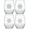 STEMLESS WINE TUMBLER - SET OF 4 (GLASS) MODERN SNOWFLAKES