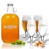 5 Piece Set: Growler  64 oz.  & Cervoise Glass  16.75 oz. (Set of 4) Personalized Sport Food Drinks