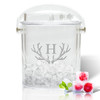 Insulated Ice Bucket with Tongs - Antler Initial Motif