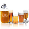 64oz GROWLER and VARIETY PINT GLASS SET OF 4 GLASSES: PERSONALIZED ANTLER MOTIF