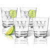 Tritan Double Old Fashioned Glasses 12oz (Set of 4): Split Letter