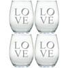 STEMLESS WINE TUMBLER - SET OF 4 (GLASS) : LOVE