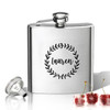 Stainless Steel Hip Flask (8 oz) Personalized to your desire.  Name with wreath.