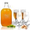 5 Piece Set: Growler  64 oz.  & Cervoise Glass  16.75 oz. (Set of 4) Personalized Mr & Mrs Bracket