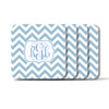 Personalized Square Coasters, Set of 4 - Chevron Vine Monogram