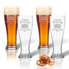 PERSONALIZED PILSNER GLASS: SET OF 4- HOME BREW TIMES NEW ROMAN