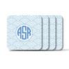 Personalized Square Coasters, Set of 4 - Wild Blue Lupin Circle Monogram