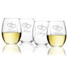 STEMLESS WINE TUMBLER - SET OF 4 (GLASS) : LOVE KISS HUG ADORE