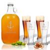ICON PICKER 5 Piece Set: Growler  64 oz.  &  Pilsner Glass 16oz (Set of 4) Personalized(Beach/Nautical)