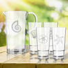 Entertaining Set: Tritan Pitcher and High Ball Glasses 16 oz (Set of 4)(Beach/Nautical)