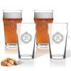 ICON PICKER NONIC PINT GLASS SET OF 4 GLASSES (Initial/Monogram Prime Design)