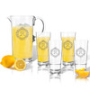Entertaining Set: Tritan Pitcher and High Ball Glasses 16 oz (Set of 4)(Initial/Monogram Prime Design)
