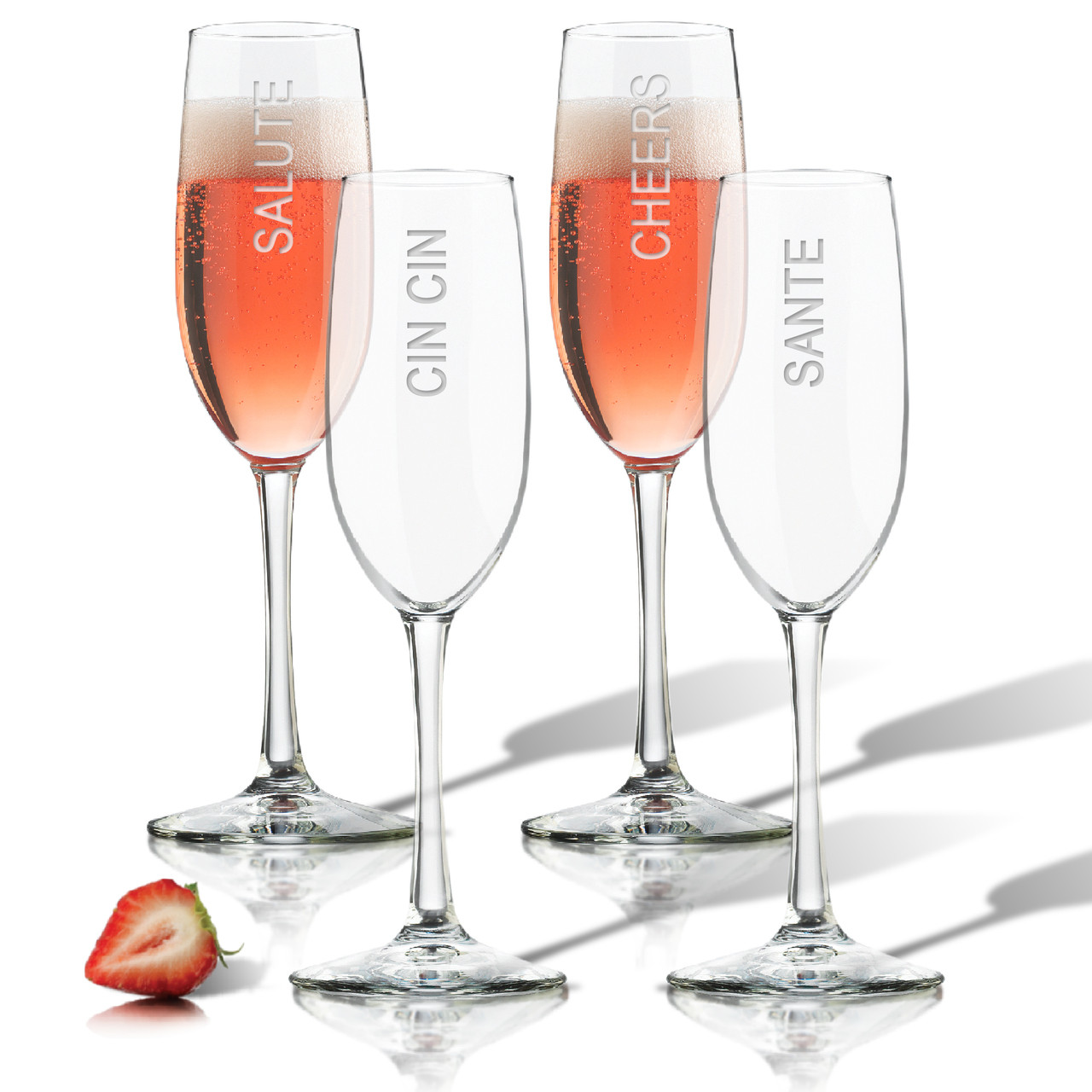cheers champagne flute set of 4 glass carved solutions