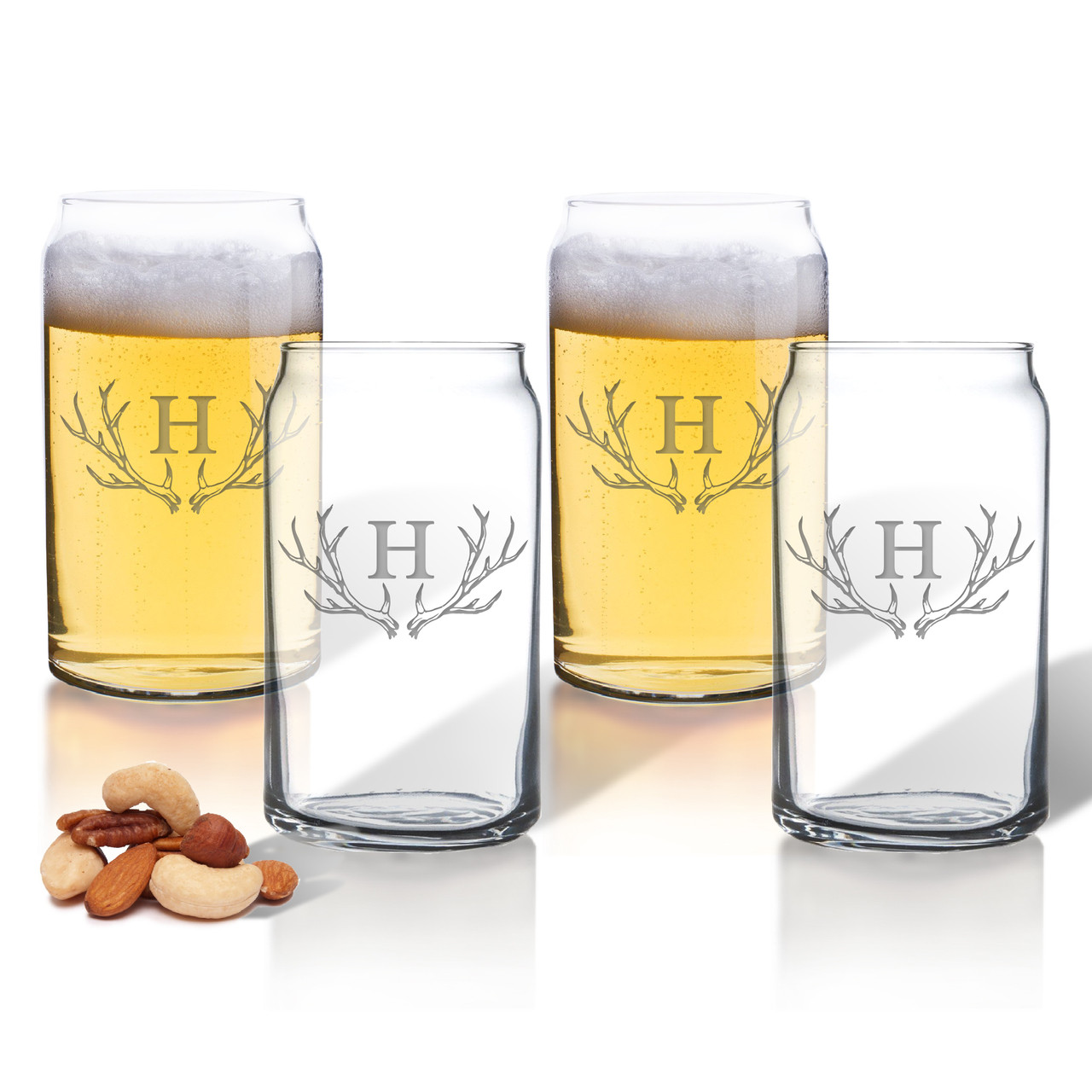 personalized beer can glasses gift set antler motif carved solutions