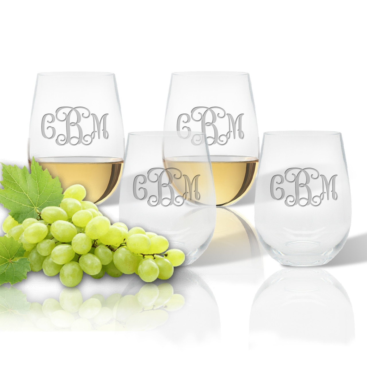 Stemless Wine Tumbler (Set of 4) (Tritan Unbreakable)-PERSONALIZED ...