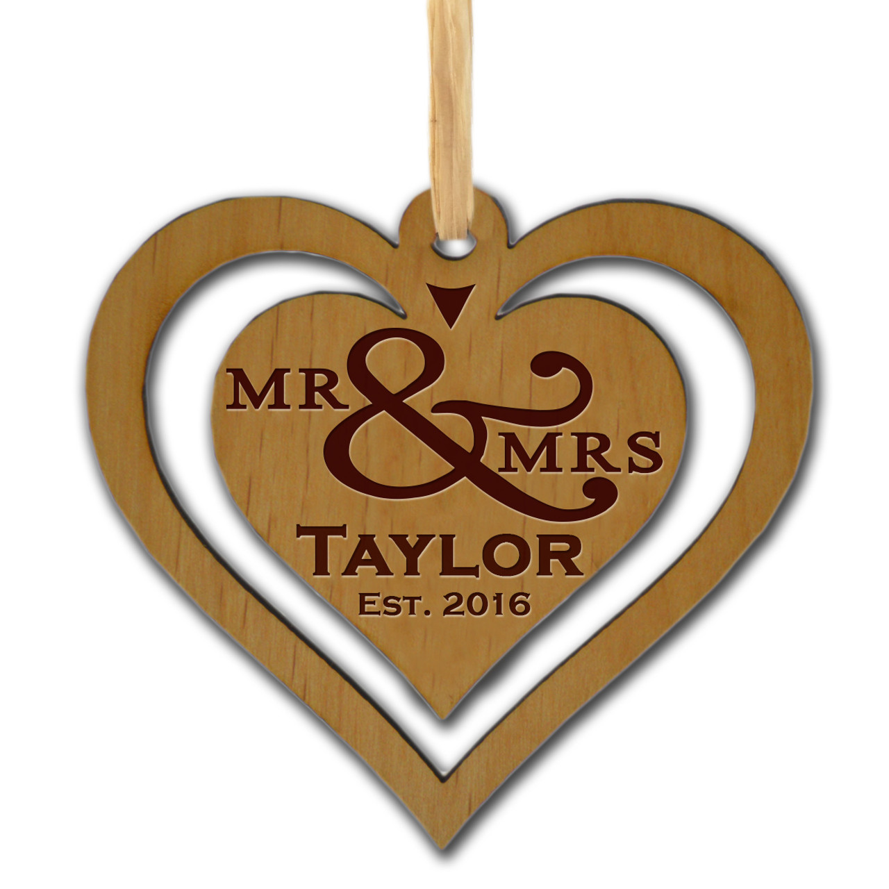 Double Heart Personalized Wooden Ornament Carved Solutions