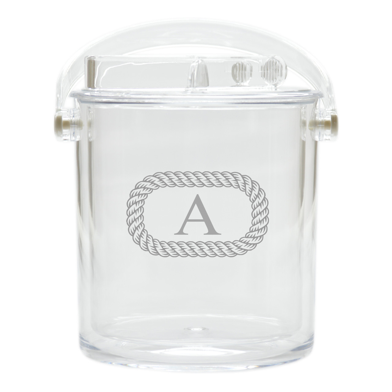 Personalized Insulated Ice Bucket with Tongs Oval Rope