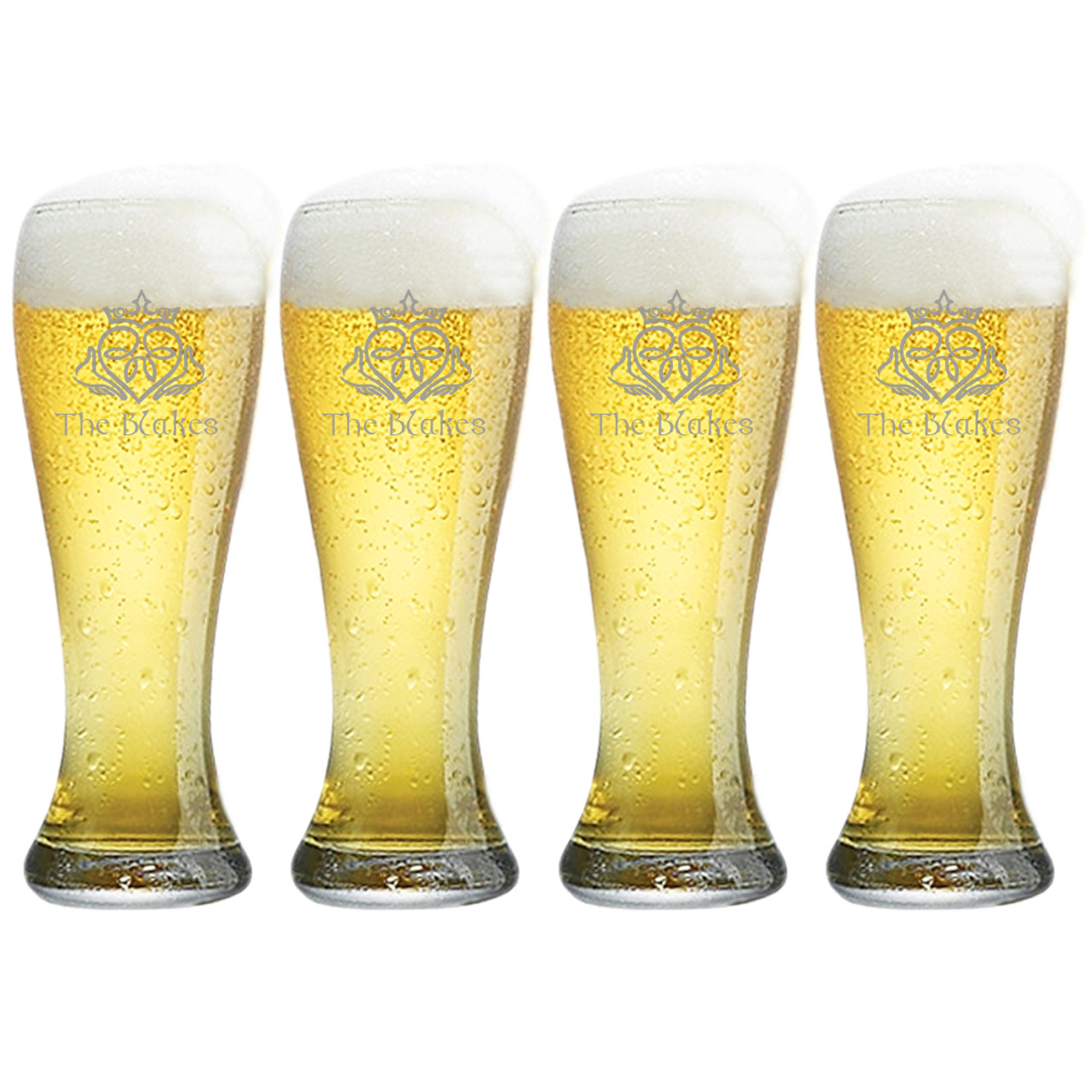 personalized pilsner glass set of 4 claddagh with celtic name