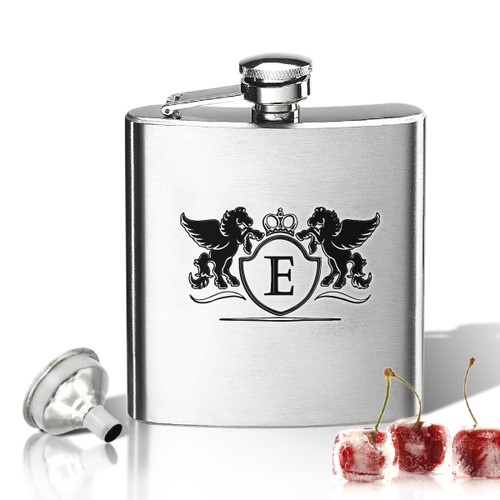 Stainless Steel Hip Flask (8 oz) Personalized to your desire.  Pegasus initial