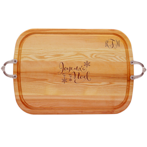 EVERYDAY COLLECTION: LARGE SERVING TRAY WITH NOUVEAU HANDLES PERSONALIZED MONOGRAM JOYEUX NOEL