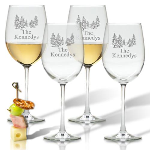 PERSONALIZED PINE TREES WINE STEMWARE - SET OF 4 (GLASS)