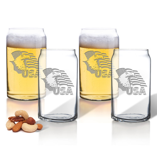 Eagle and Flag Set of 4 Beer Can glasses 16oz