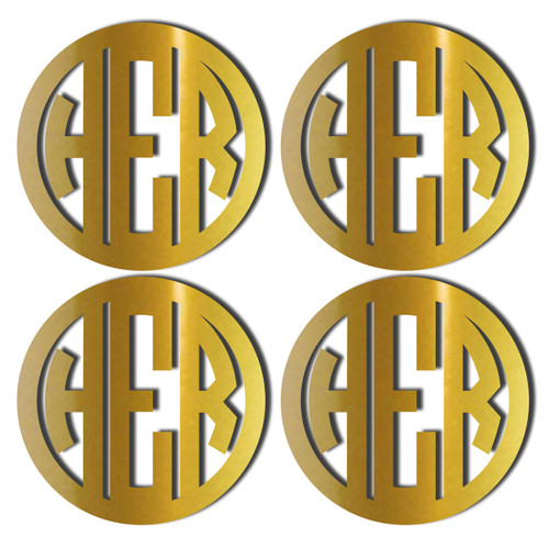 Gold Mirrored Acrylic Coasters, Set of 4