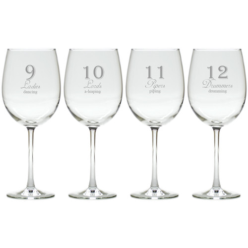 DAYS OF CHRISTMAS 9-12 STEMWARE - SET OF 4 (GLASS)