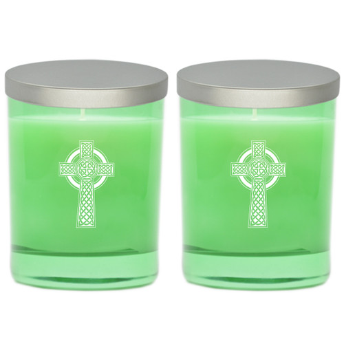 Emerald Soy Glass Candle - Celtic Cross (Set of 2)