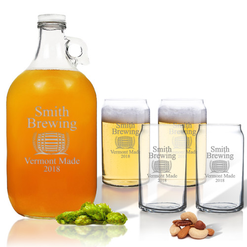 5 Piece Set: Growler  64 oz.  & Beer Can Glasses 16 oz (Set of 4) Personalized Brewing