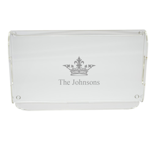 personalized acrylic serving tray crown