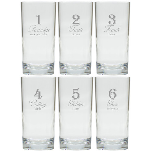 DAYS OF CHRISTMAS 1-6 COOLER: SET OF 6 (Glass)