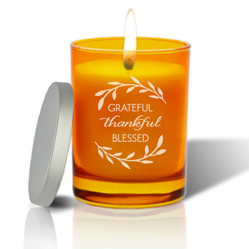 Topaz Soy Glass Candle - Grateful Thankful Blessed