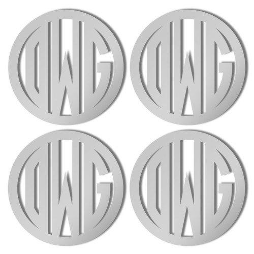 Silver Mirrored Acrylic Coasters, Set of 4