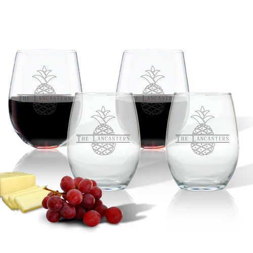 PERSONALIZED SPLIT LETTER PINEAPPLE STEMLESS WINE TUMBLER SET OF FOUR