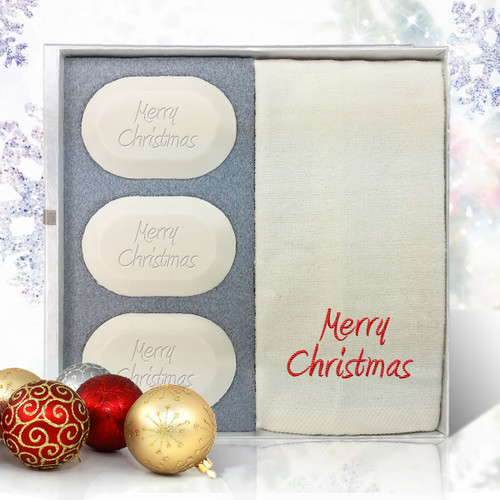 Eco-Luxury Gift Set - Merry Christmas (3 Soap, 1 Towel)