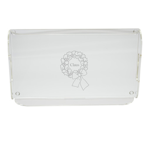Personalized Acrylic Serving Tray - Wreath with Name