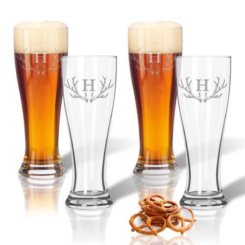 PERSONALIZED ANTLER MOTIF PILSNER GLASS: SET OF 4