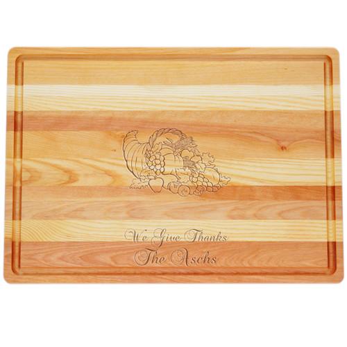"Large Master Cutting Board 20"" X 14.5"" - Personalized Cornucopia"